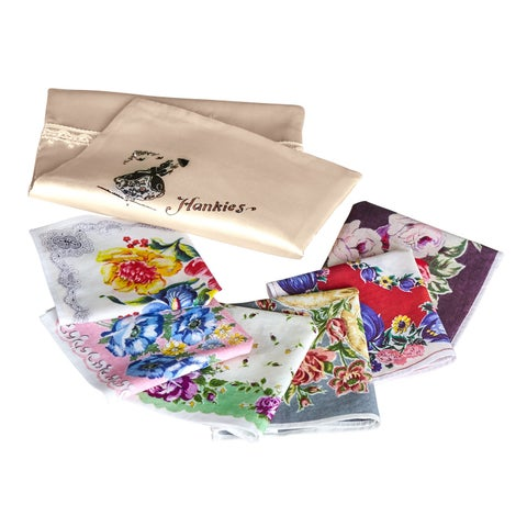 Victorian Trading Co. Floral Handkerchiefs - 6 Hankies in Embroidered Pouch