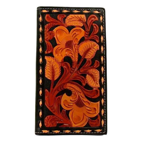 Nocona Western Wallet Mens Rodeo Laced Edge Black Tan Brown