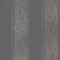 Brewster 2618-21326 Arcades Black Paisley Stripe Wallpaper - black paisley stripe - N/A