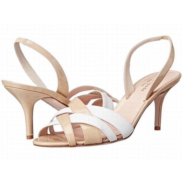 Kate Spade NEW Beige White Shoes Size 8B Slingbacks Leather Heels