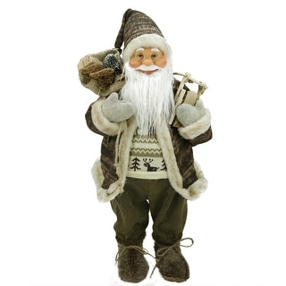 """24"""" Natural Country Brown Standing Santa Claus Christmas Figure with Sled and Gift Bag"""
