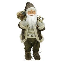 "24"" Natural Country Brown Standing Santa Claus Christmas Figure with Sled and Gift Bag"