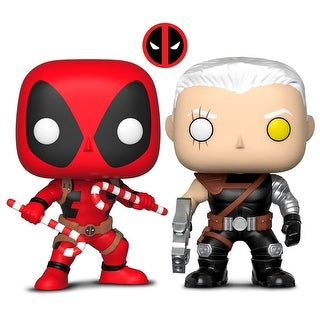 Funko Pop! Marvel: Holiday - Deadpool W/ Candy Canes and Funko Pop! Marvel: Cable (2 Items)