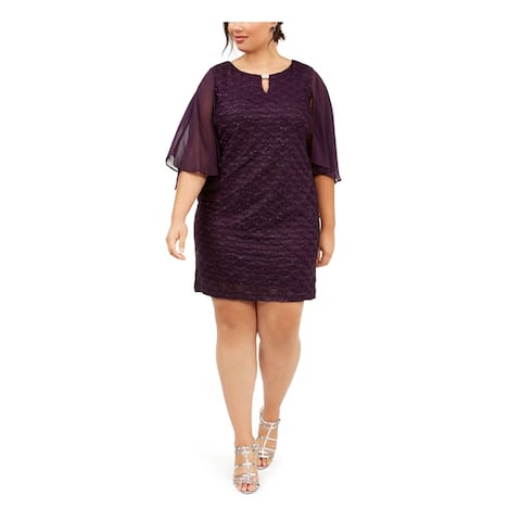 CONNECTED APPAREL Purple 3/4 Sleeve Above The Knee Dress 24W