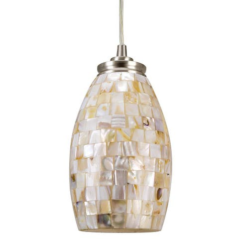 Modern industrial hand crafted mosaic glass pendant light with satin nickel finish - Multi-Color
