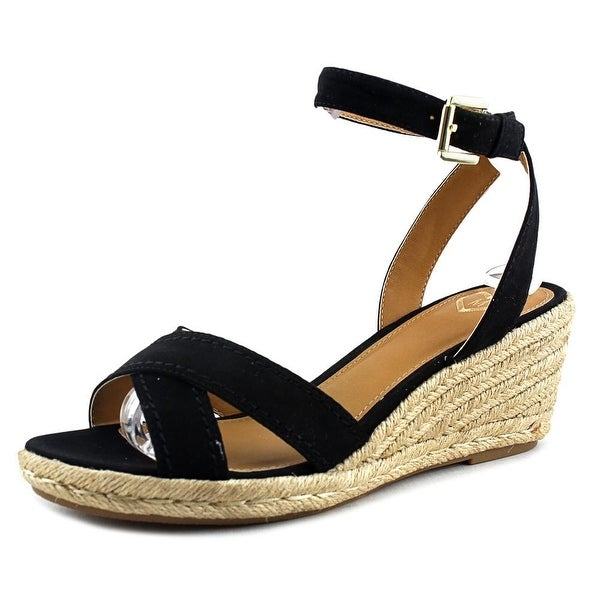 Madeline Strum Women Open Toe Canvas Black Wedge Sandal