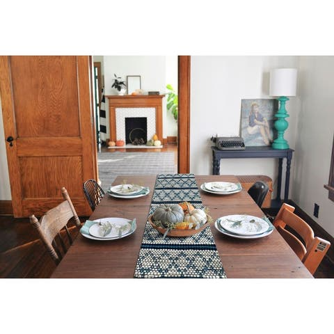 """Reversible Blue and White Geometric Table Runner - 1'2"""" x 6'0"""""""