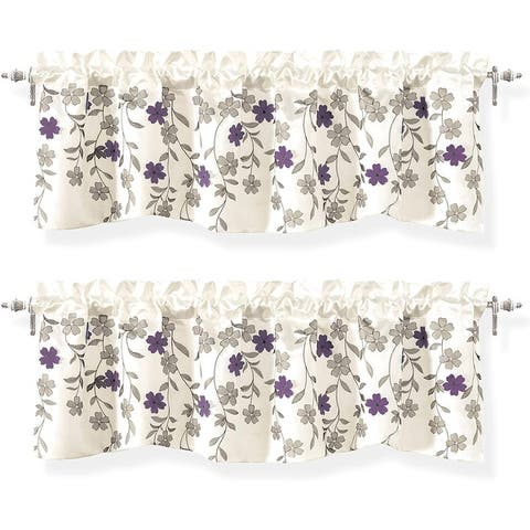 DriftAway Isabella Faux Silk Embroidered Kitchen Swag Valance 2 Pack