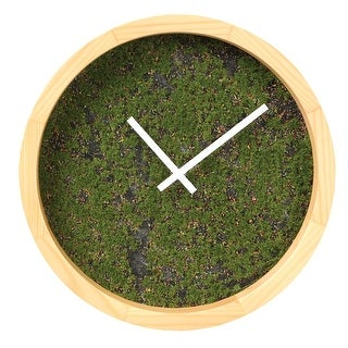 "Grassy Wall Clock - Round Wooden Frame - 10"" Diameter - Green - 10 in."