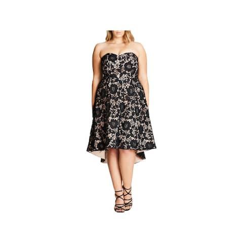 City Chic Womens Plus Sierra Semi-Formal Dress Lace Sweetheart Neckline