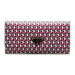 Prada Women's Continental Flap Saffiano Leather Wallet Begonia Red - M