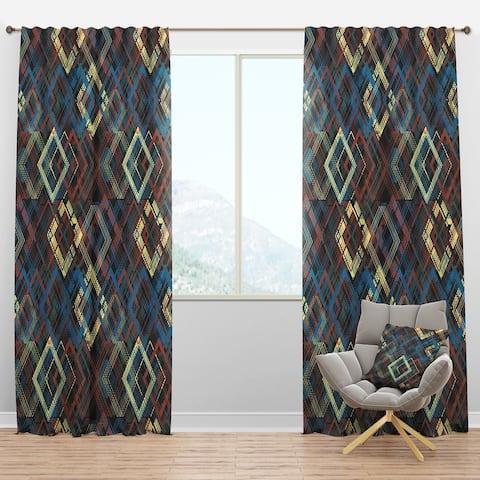 Designart 'Vintage yellow blue and blue diamond squares' Mid-Century Modern Blackout Curtain Panel