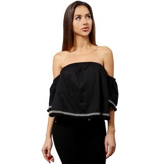 NE PEOPLE Women's Lightweight Off Shoulder Casual Tops Shirt With Ball Tassels
