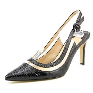 J. Renee Gwenda Women Pointed Toe Leather Black Slingback Heel
