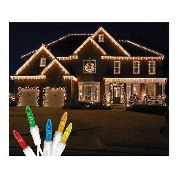 Christmas at Winterland S-ICM55M-IW Standard Icicle Lights M5 LED Multicolor Color Faceted 70 Lights White Wire 22 Gauge