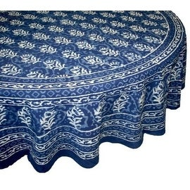 Handmade Dabu Floral Block Print 100-percent Cotton Tablecloth Indigo Blue Rectangular Square Round