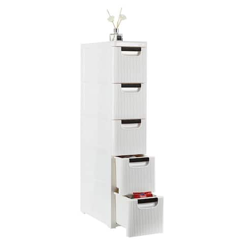 4 / 5 Tier Narrow Rolling Cart Organizer Unit with Wheels White