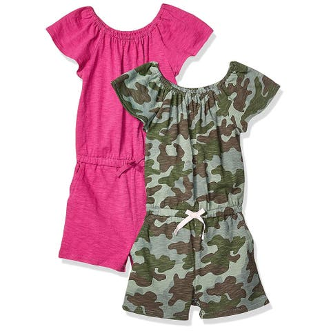 Spotted Zebra Little Girls' 2-Pack Knit Ruffle Top Rompers, Camo/Fuchsia, Sma... - Small (6-7)
