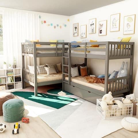 Furniture of America Jis Modern Twin Solid Wood L-shaped Bunk Bed