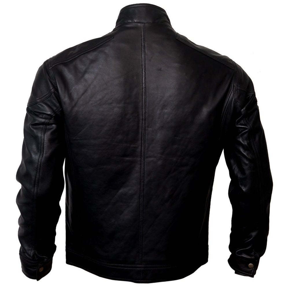 New Race Men/'s Black Casual City Biker Style Real Soft Lambskin Leather Jacket