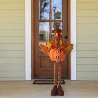 Glitzhome LED Lighted Fabric Turkey Standing Decor with Telescoping Legs
