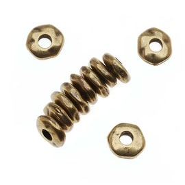 TierraCast Brass Oxide Finish Pewter Nugget Heishe Spacer Beads 7mm (12)