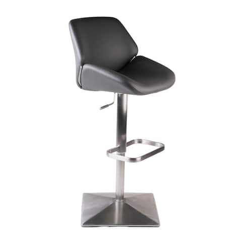 MIX Grey Faux-Leather Brushed Stainless Steel Adjustable Height Swivel Bar Stool with Square Pyramid Base