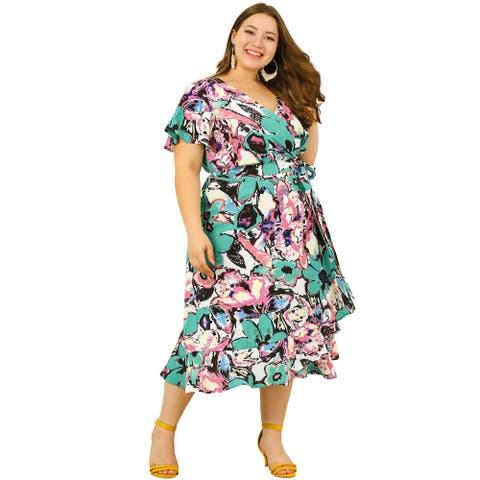 Women's Plus Size Dress Wrap V Neck Floral Print Midi Dresses - Green