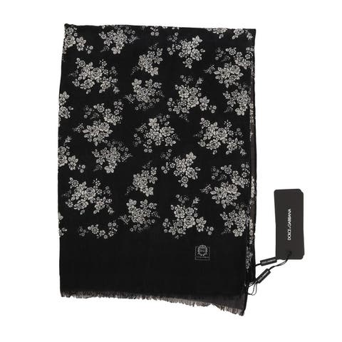 Dolce & Gabbana Gray Cashmere Shawl Floral Men's Scarf - One Size