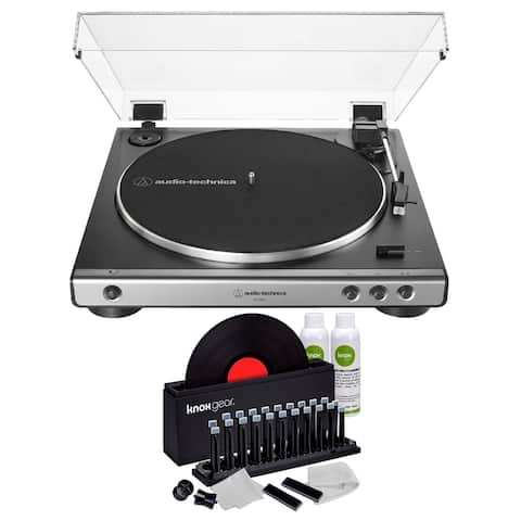 Audio-Technica AT-LP60X Turntable (Gunmetal) with Vinyl Cleaning Kit