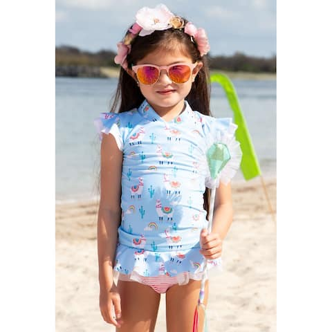 Sun Emporium Bahama Llama Print Rash Guard Nappy Cover Set Baby Girls