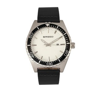 Breed Ranger Leather-Band Watch w/Date - Black/Silver