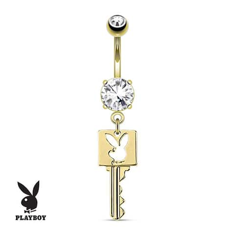Key With Playboy Bunny Die-Cut Dangle gold-plated Navel Belly Button Ring