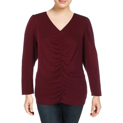 Vince Camuto Womens Plus Blouse V-Neck Shirred