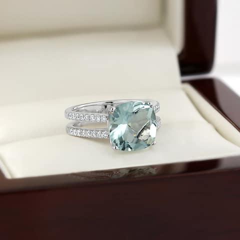 Auriya Modern 3ct Cushion-cut Aquamarine and Diamond Engagement Ring 1/4cttw 14k Gold