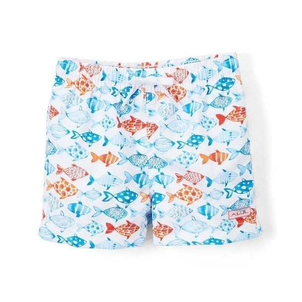 Azul Baby Boys White Fish Print Elastic Band Drawstring Swim Shorts - 18-24 months