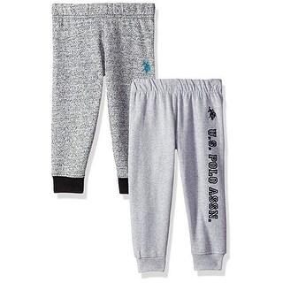 U.S. Polo Assn. Little Boys Heather Gray 2 Pack Fleece Casual Pants Set 2-4T