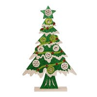 "17"" Battery Operated LED Wooden Cutout Table Top Christmas Tree - green"