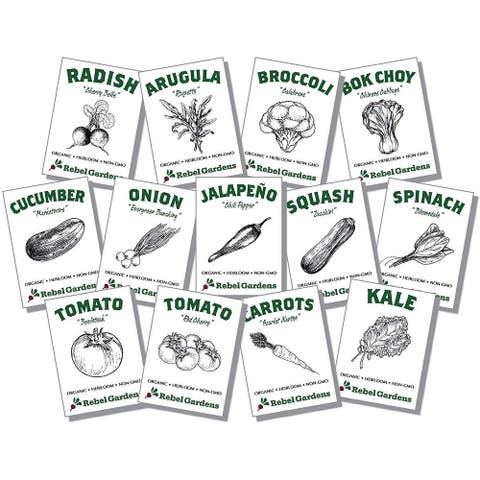 Organic Vegetable Seeds for Planting - 13 Varieties of Non GMO, Non Hybrid, Heirloom Seeds - Tomatoes, Kale, Carrots,... - Set