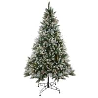 6.5' Pre-Lit Frosted Sierra Fir Artificial Christmas Tree - Clear Lights - green