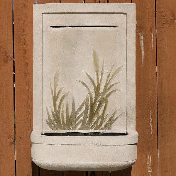 Sunnydaze Modern Cattail Outdoor Wall Water Fountain 24 Inch Tall