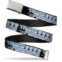 Blank Chrome  Buckle Transformers Logo 4Decepticon Logo Black Blue Web Belt - S