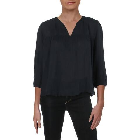 Velvet Womens Peasant Top Frayed Hem Three-Quarter Sleeves