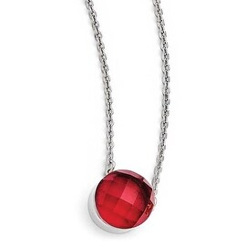 Chisel Stainless Steel Polished Red Glass with 1 inch Extension Necklace (1 mm) - 18 in