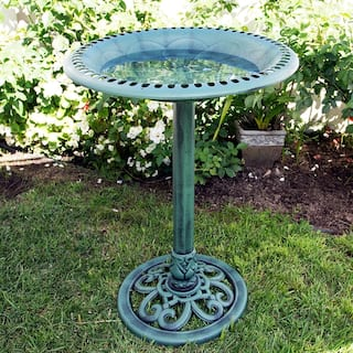 Alpine 28-Inch Outdoor Birdbath with Scrollwork Decoration Yard Statue