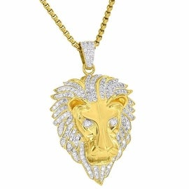 Mens Designer 18K Gold Tone Lion Face Pendant Charm Simulated Diamonds Free Stainless Steel Chain