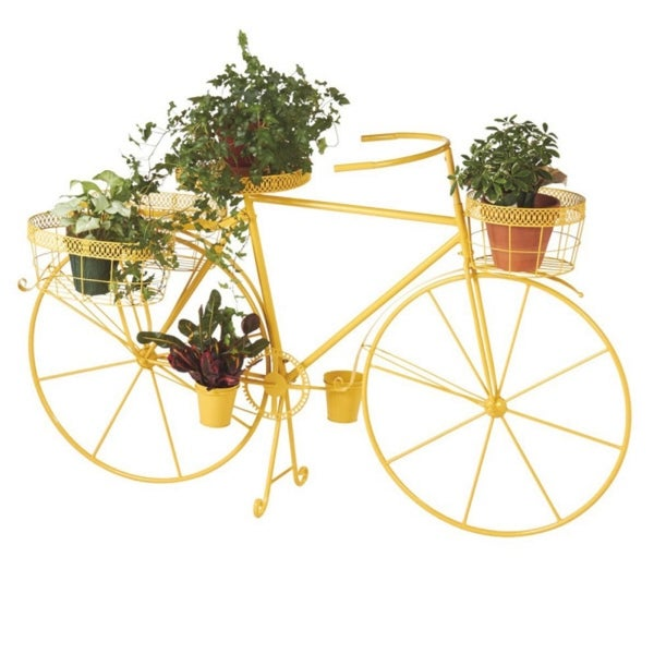 "61"" Vibrant Sunshine Yellow Outdoor Patio Garden Bicycle with Planter Baskets - N/A"