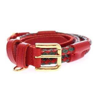 Dolce & Gabbana Red Leather Logo Gold Buckle Belt