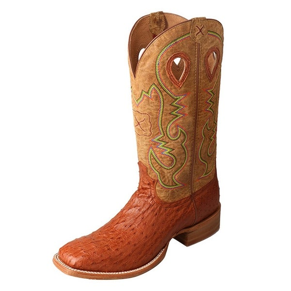 Twisted X Western Boots Mens Gold Buckle Ruff Stock Brandy