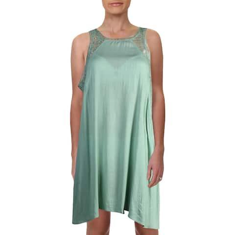 O'Neill Womens Addison Lace Trim Racerback Dress Swim Cover-Up - M